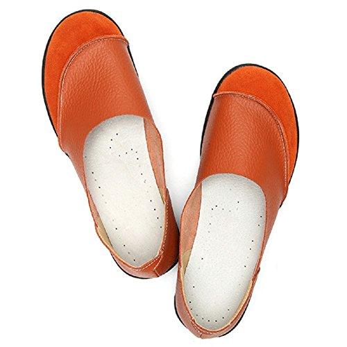 Mujer Piel Naranja Mocasines Para Lazutom Sintética De qB1nCf0