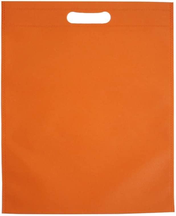 Set of 48 Promotional Nonwoven Heat Seal Reusable Tote Party Bag, Goodie Bags, Gift Bags Bulk With Die Cut Handles (Orange)