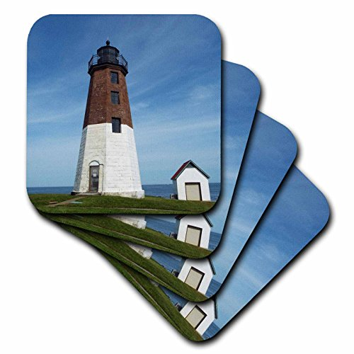 Renderly Yours Scenic Inspirations - Point Judith Lighthouse - set of 4 Ceramic Tile Coasters (cst_202507_3)