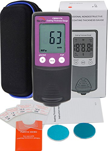 VTSYIQI CM8801FN 0-1250um/0-50mil Paint Coating Thickness Gauge Paint Tester Meter FN Type Paint Coating Thickness Gauge 0 to 1250um 0 to 50mil 2 in 1 Fe/NFe Paint and Coating Thickness Gage