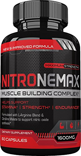 NitroneMax NO2 Nitric Oxide Booster – Superhuman Muscle Building All Natural Nitric Oxide Supplement w/L Arginine AKG & L Citrulline – Boost Energy, Strength, Pumps, Muscle Building – 60 Count