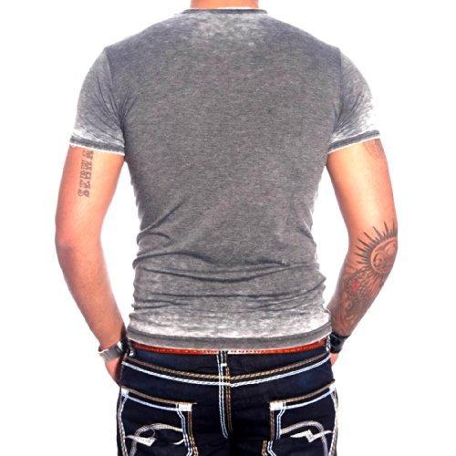 R-NEAL Clubwear Kurzarm Herren T-Shirt Washed Optik Shirt RTN-16709 NEU, Größe:S, Farbe:Anthrazit