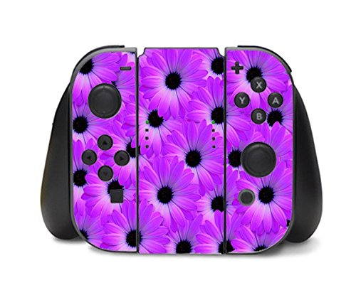 Purple Floral Flower Daisy Pattern Nintendo Switch Controller Vinyl Decal Sticker Skin by Moonlight Printing