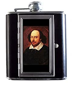 William Shakespeare Playwright Bard 5oz Stainless Steel & Leather Hip Flask with Built-In Cigarette Case