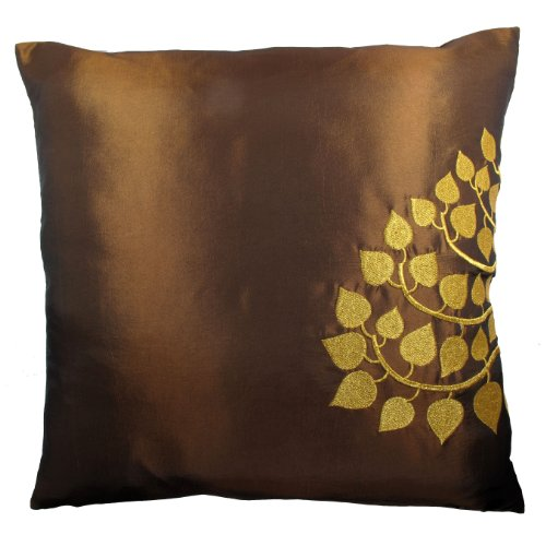 Contemporary Thai Silk Throw Pillow Cover (Cushion Cover), Gold Embroidered Bodhi Tree Leaves Design, 16