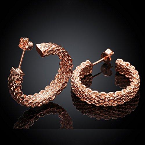 Women 18K Gold Plating Zircon Stud earrings(Rose Gold) - 5