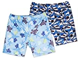 Holy Unicorn 2-Pack Toddler Little Boys Turtles Shark Starfish Swimming Trunks Shorts Bottoms 2-3