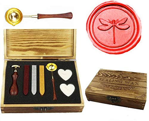 MNYR Vintage Dragonfly Sealing Wax Seal Stamp Kit Melting Spoon Wax Stick Candle Wooden Book Gift Box Set Wedding Invitation Embellishment Holiday Card Gift Wrap Package Gift Idea Seal Stamp Set ()