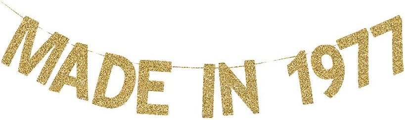 Made in 1977 Banner, Women/Men's 43rd Birthday Party Fun Gold Gliter Paper Sign Backdrops