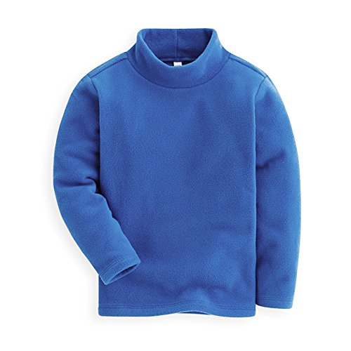 Boys Fleece Shirt (Mud Kingdom Boys Shirts Fleece Turtleneck Base Tops Plain 5 Blue)