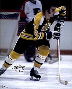 "Ken Hodge Boston Bruins Autographed 16"" x 20"" Black Jersey Skating Photograph with 70-72 SC Champs Inscription - Fanatics Authentic Certified"