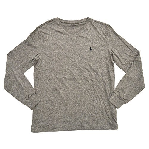 Polo Ralph Lauren V-neck T-shirt Mens Long Sleeve Classic Fit (L, Dark Vintage)