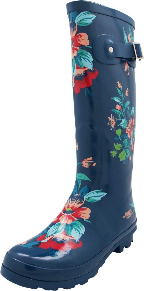 NORTY - Womens Hurricane Wellie Printed Floral Hi-Calf Rain Boot, Blue 40715-11B(M) US