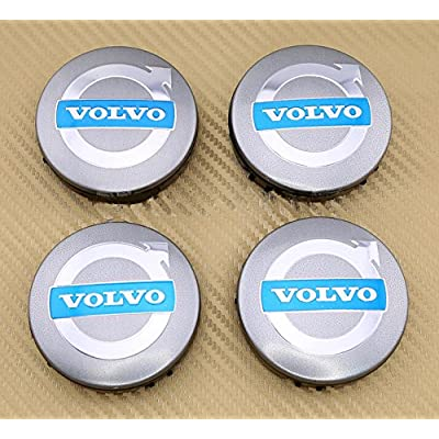 "Angel Mall VOLVO 2.5"" Outer Diameter (63.5mm) Grey Wheel Center Hub Caps Cover 4-pc Set"
