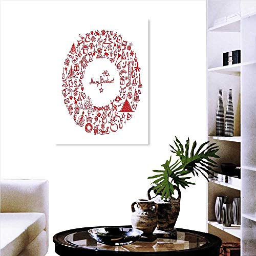 Christmas Modern Canvas Painting Wall Art Vintage Merry Xmas Wreath with Several Noel Yule Icons and Ribbons Candles Bells Image Triple Art Stickers 24