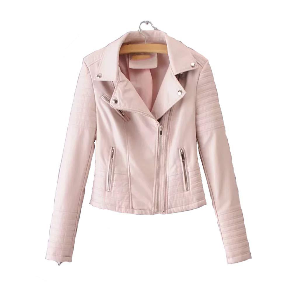 2 Women Smooth Motorcycle Faux Leather Jackets Ladies Long Sleeve Autumn Winter Biker Streetwear Black Pink Coat