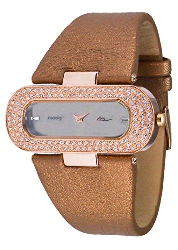 Moog Paris Glam Women's Watch with Black Dial, Brown Genuine Leather Strap & Swarovski Elements - M44088-007