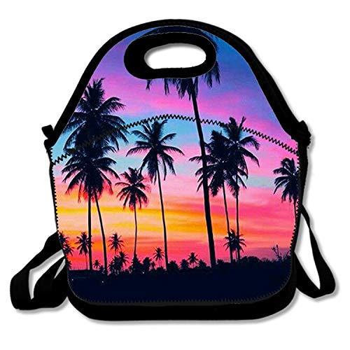 Blue Palm Tree Reusable Lunch Bags Carry Cases Insulated Lunch Tote Neoprene Water Resistant Portable Lunch Boxes Handbag Pouch with Zipper Strap Perfect for Women Men Kids
