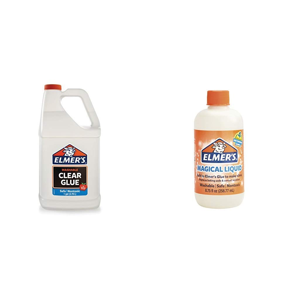 Elmer's Liquid School Glue, Clear, Washable, 1 Gallon - Great for Making Slime & Elmer's Glue Slime Magical Liquid Activator Solution, 8.75 fl. oz. Bottle - Great for Making Slime by Elmer's