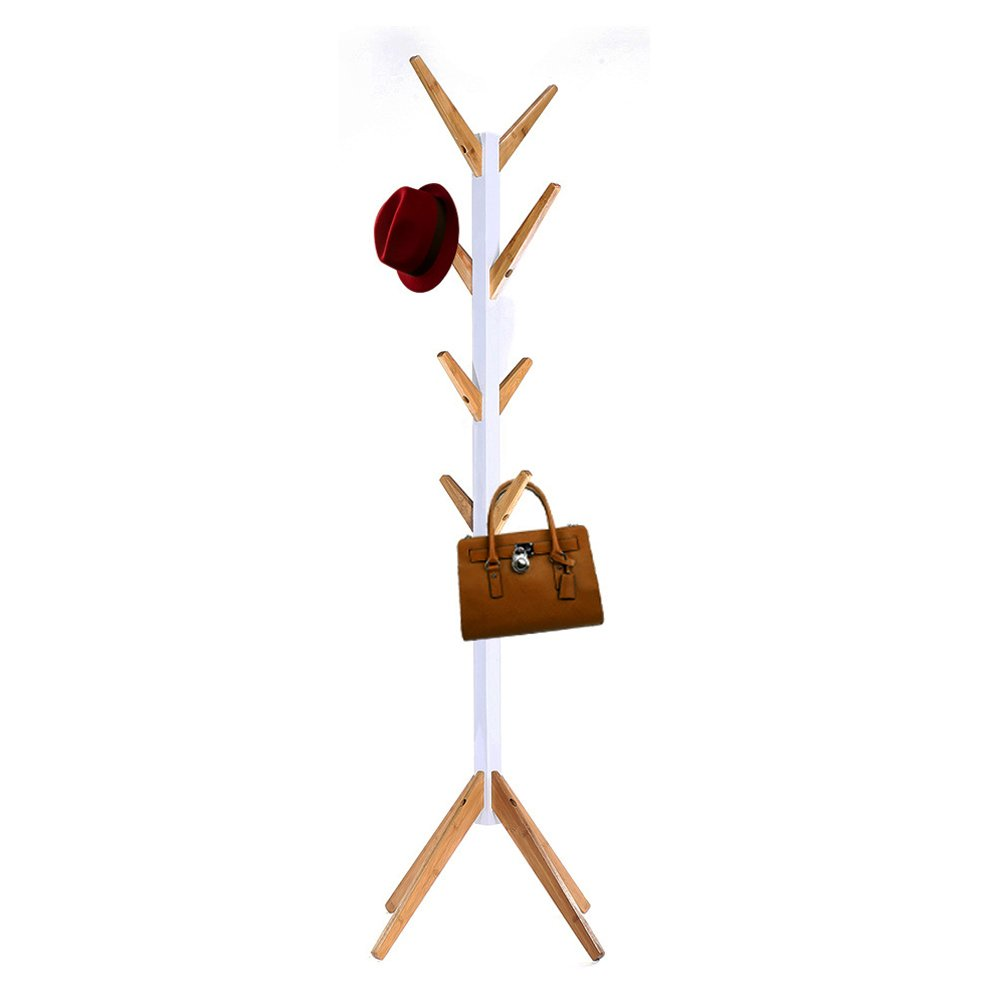 HAPPY & HOME Happyhome Coat Stand Free Standing Coat Rack with 8 Hooks Organize Hats Scarves, Clothes, Handbags for Entry Hallway Bedroom Reception Room-White Happy Home