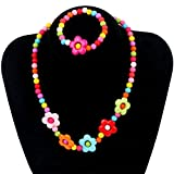 Kids Jewelry Colorful Flower Fashion Jewelry for Girls Necklace Bracelet Set For Little Girls Children