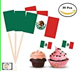 30Pc - Proud Mexican Topper Flag, Colorful Flag Cake,Cupcake,Deserts,Cold or Hot Typical Dishes, Toppers Picks for Decorations (Mexico)