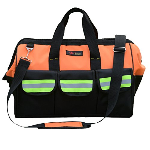 (ZOJO Reflective Tool Bags For Men & Women 16 inch Wide Mouth (Large, Orange))
