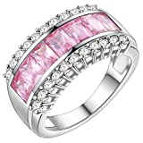 HMILYDYK Women Wedding Band Ring Platinum Plated Pink CZ Crystal from Swarovski Promise Anniversary Ring
