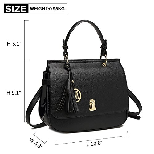 Miss Elegant Bag Pu Women Flap Crossbody Tassel Handbags Handle Bag Black Leather Top Shoulder Lulu Bag with Lock Closure wAnxCRq1vw