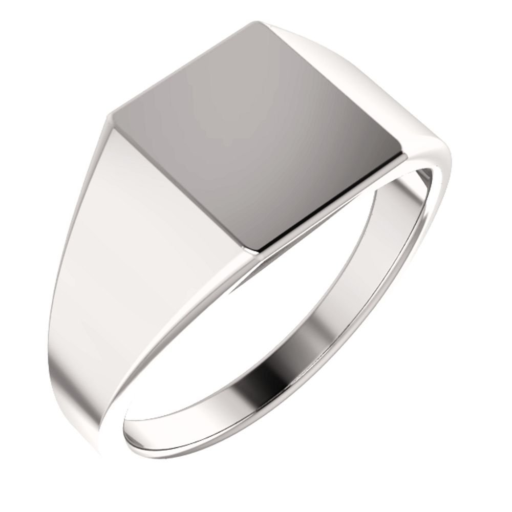 Men's Closed Back Rectangle Signet Ring, 18k Palladium White Gold (11X10mm) Size 10