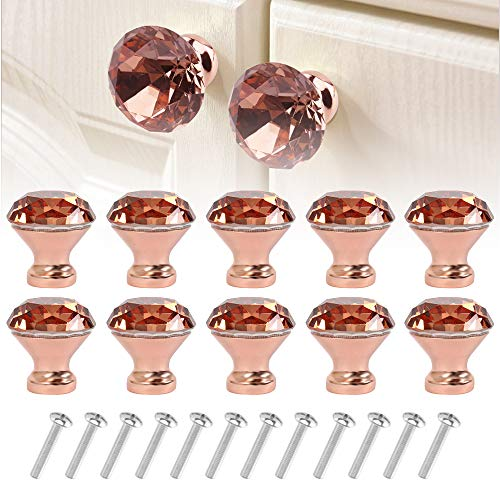 Westmell 10Pcs Crystal Cabinet Dresser Drawer Knobs 30mm, Rose Gold Diamond Shape Glass Knob and Pull Handle for Kitchen Bathroom Cabinet Door Wardrobe Cupboard