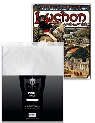 100 Max Pro 12x18 Photo / Lithograph / Print Sleeves Bags with Flap - Archival Quality Protection for Your Photos Litho and Prints