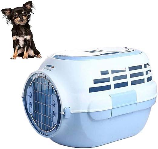 FXQIN Transportín de Mascotas de plástico, Caja de Transporte de Gato portátil de Lados Duros, Caja de Viaje para Coche de Jaula para Perros al Aire Libre para pequeños Animales, Azul: Amazon.es: