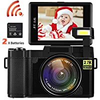 Video Camera Camcorder, DIWUER WiFi Wireless Digital Camera Recorder, 24.0MP Full HD 1080P Flip Screen Vlogging Camera with UV Lens, Flashlight (Two Batteries Included)