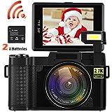 Video Camera Camcorder, DIWUER WiFi Digital Camera Recorder, 24.0MP Full HD 1080P Flip Screen Vlogging Camera with UV Lens, Flashlight (Two Batteries Included)