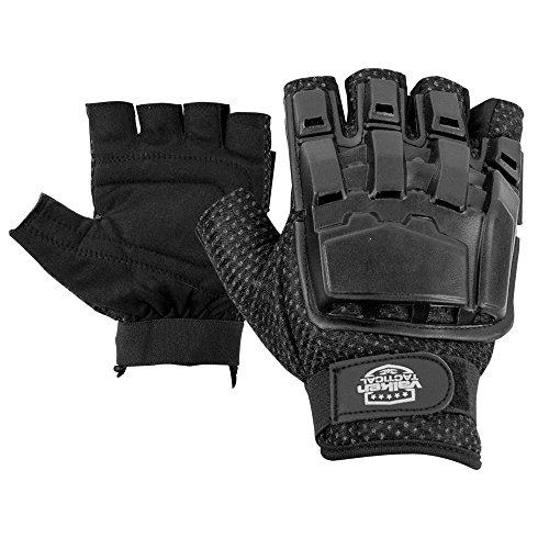 Valken V-TAC Half Finger Plastic Back Airsoft Gloves, Black, Medium/Large