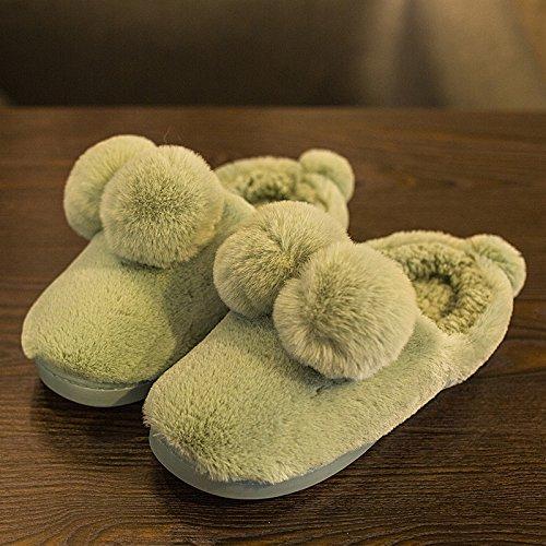 Laxba Women Men Intérieur Pantoufles Anti-dérapant Chaussures Lac Vert Clair 39/40