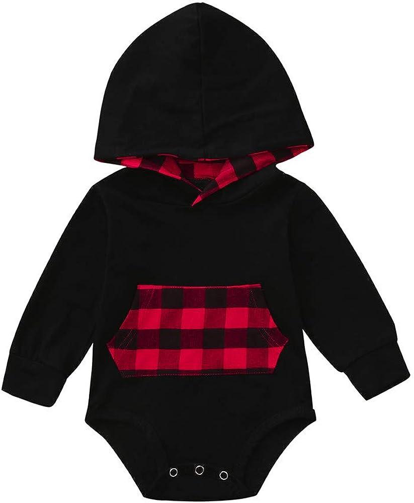 Baby Kid Romper,Fineser Cute Toddler Baby Girls Boys Long Sleeve Pocket Plaid Hoodie Romper Jumpsuit Clothes