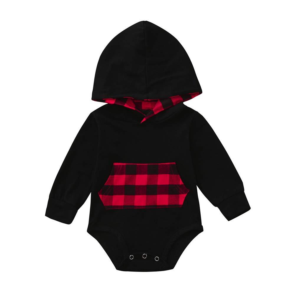 Newborn Baby Girls Boys Onesies,Long Sleeve Pocket Plaid Romper Hoodie Jumpsuit (12-18 Months, Black) Fdsd