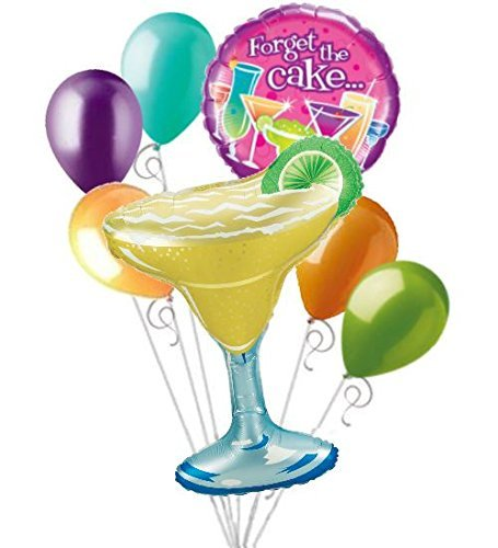 (7 pc Margarita Forget the Cake Cocktails Birthday Balloon Bouquet)