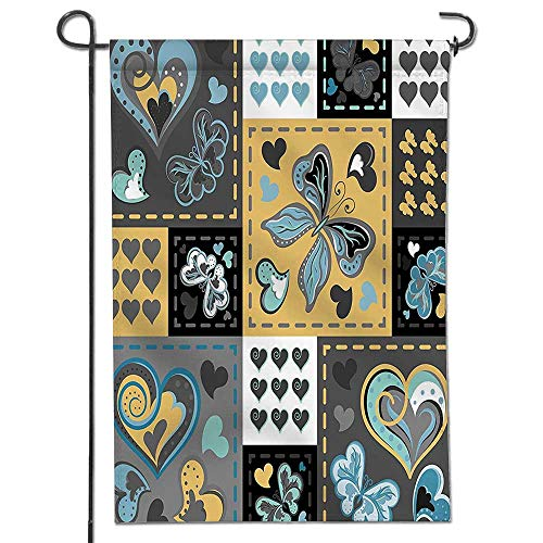 Home Sweet Home Garden FlagDark Textured Vintage Ornament Heart and Butterfly Motif in Mix Retro Design Grey Spring Summer Yard Outdoor (Mix Yard Design)
