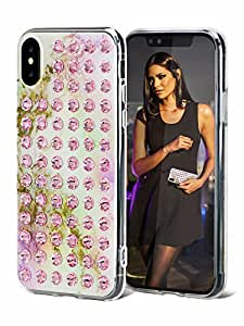 iPhone X Case - AirPower Compatible [Wireless Charging] Super Slim Glossy Anti-scratch Finish Durable TPU/PC Hybrid Snap-on Cover with SWAROVSKI Crystals - Pastel Light Rose