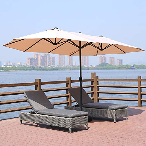ROSE GARDEN Patio Outdoor Umbrella Double-Sided Aluminum Table Patio Umbrella with Beige (Costco Umbrella Deck)