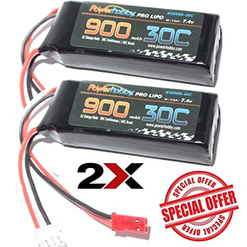 PowerHobby 2S 7.4V 900mAh 30C Lipo Battery w JST Connector 2-Cell (2 Pack) Fits : Blade CX / CX2 / CX3 Blade 200qx Quadcopter