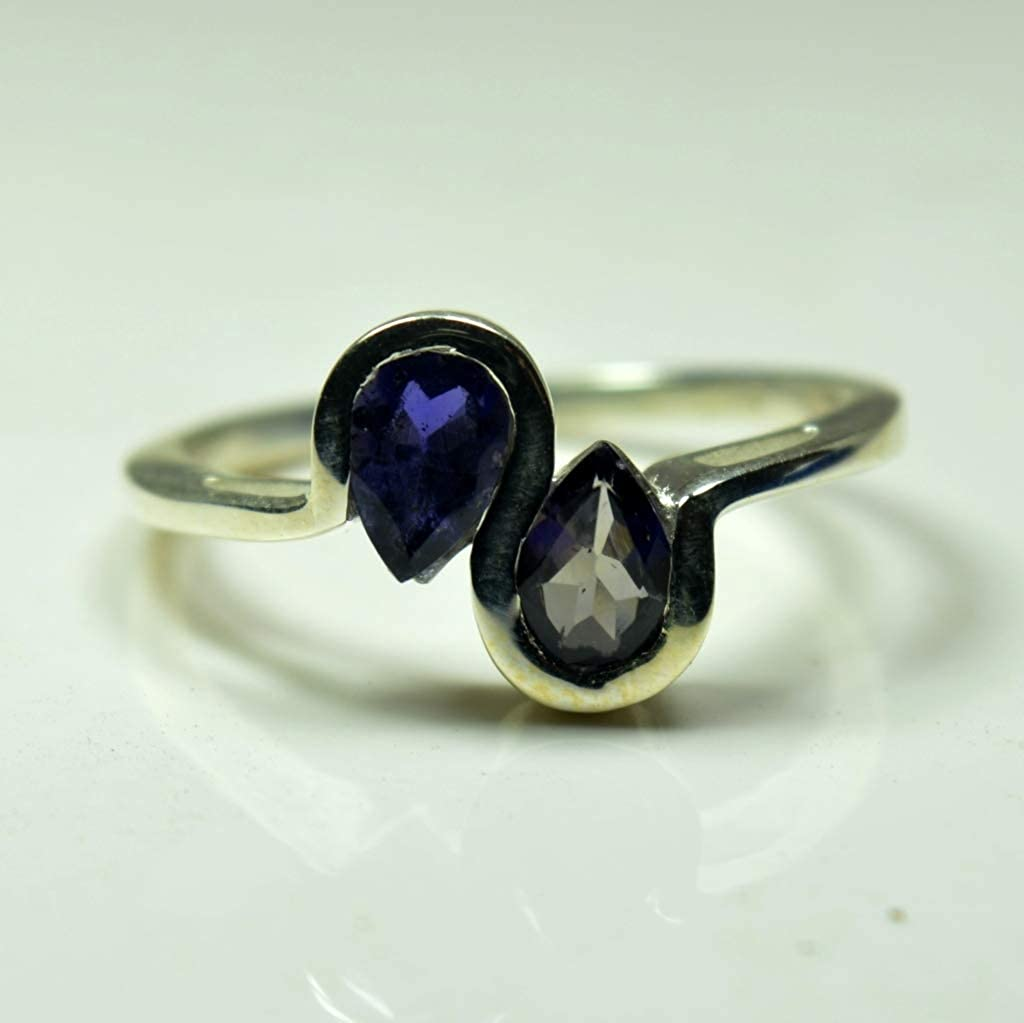 55Carat Genuine Iolite Rings for Gift Sterling Silver Pear Shape Blue Gemstone Women Jewelry in Size 4-13