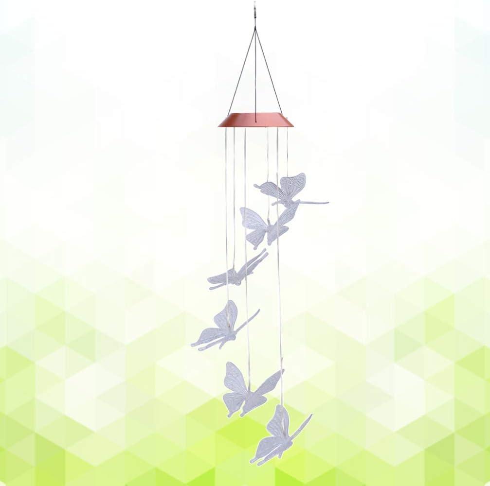 LIOOBO 1 unid Mariposa Carillones de viento Solar m/óvil LED Cambio de color Carill/ón de viento Wind Dangler Wind Spinner L/ámpara para Home Patio Porche Jard/ín Balc/ón