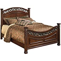 Ashley Furniture Signature Design - Leahlyn Traditional Grand Panel Bedset - Queen Size Bed - Warm Brown