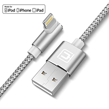 CAFELE Cargador iPhone, 5FT 90 Grados Enchufe Cargador Nylon Lightning Cable iPhone X iPhone 8 Plus 7 Plus 6S Plus SE 5S 5C 5, iPad Air 2, Mini 3- ...