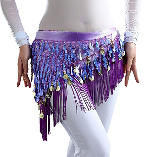 Belly Dance Hip Scarf Belt Outfit Wrap Costume with Coins Sequins Plus Size Dark Purple