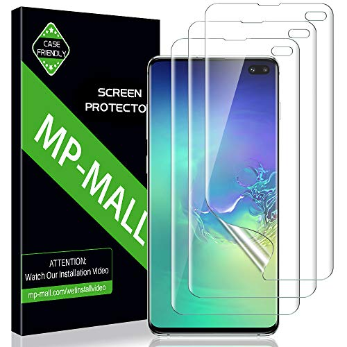 (MP-MALL [3 Pack] Screen Protector for Samsung Galaxy S10 Plus / S10+, HD Clear Screen Protector [Full Coverage] [Flexible Film] Lifetime Replacement Warranty )